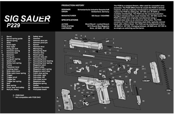 "Sig Sauer P229 Pistol Handgun Gun Cleaning Mat 11""x17"" with Parts Schematic Mouse Pad"
