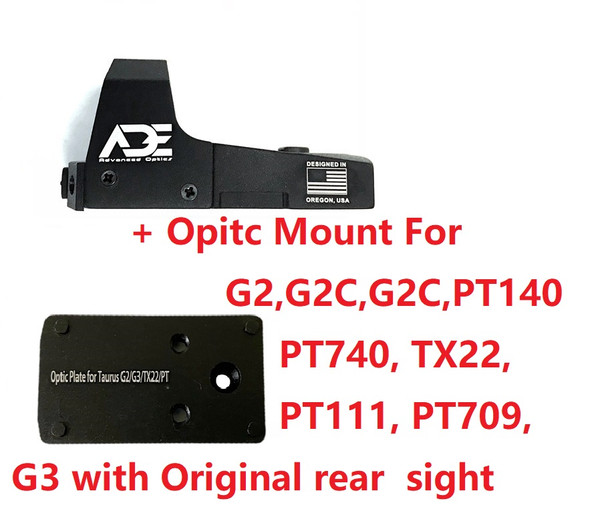 Ade Advanced Optics RD3-006 Green Dot Sight + Optic Mounting Plate for Taurus PT111 G2, Millennium G2, G2C, G3 with Original Rear Sight, PT140 G2, PT709, PT740, TX22 + Pictinny Plate