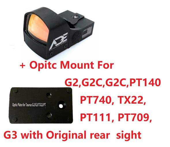 Ade Advanced Optics Crusader RD3-009 Red Dot Reflex Sight + Optic Mounting Plate for Taurus PT111 G2, Millennium G2, G2C, G3 with Original Rear Sight, PT140 G2, PT709, PT740, TX22 + Pictinny Plate