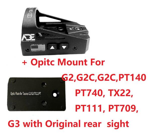 Ade Advanced Optics Delta RD3-012 Red Dot Reflex Sight + Optic Mounting Plate for Taurus PT111 G2, Millennium G2, G2C, G3 with Original Rear Sight, PT140 G2, PT709, PT740, TX22 + Pictinny Plate