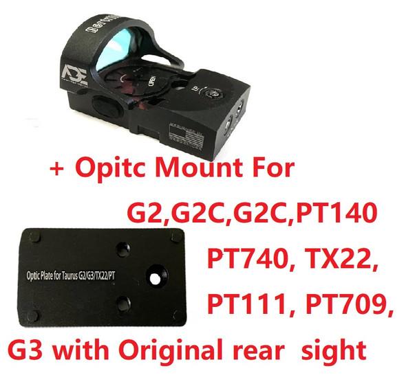 Ade Advanced Optics Bertrillium RD3-013 Red Dot Reflex Sight + Optic Mounting Plate for Taurus PT111 G2, Millennium G2, G2C, G3 with Original Rear Sight, PT140 G2, PT709, PT740, TX22 + Pictinny Plate