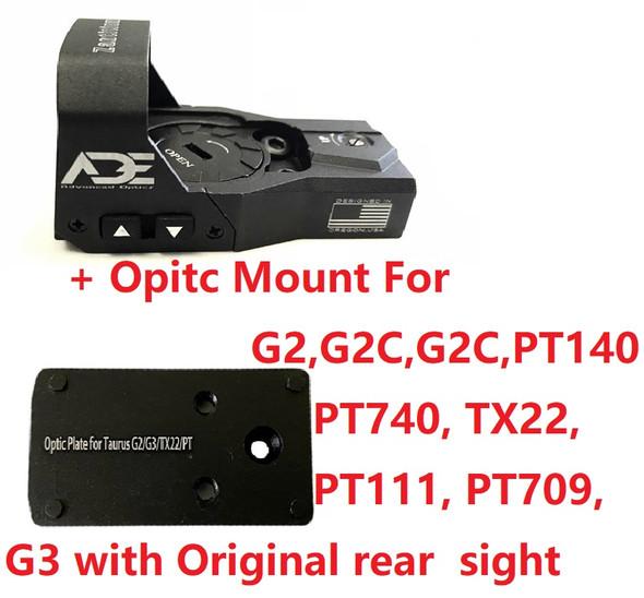 Ade Advanced Optics Zantitium RD3-015 Red Dot Reflex Sight + Optic Mounting Plate for Taurus PT111 G2, Millennium G2, G2C, G3 with Original Rear Sight, PT140 G2, PT709, PT740, TX22 + Pictinny Plate