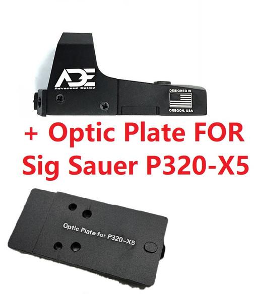 Ade Advanced Optics RD3-006 Green Dot Sight + Optic Mounting Plate for Sig Sauer P320-X5 Pistol