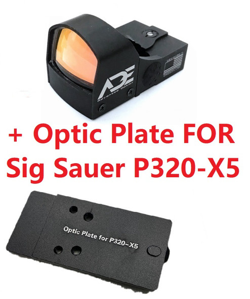 Ade Advanced Optics Crusader RD3-009 Red Dot Reflex Sight + Optic Mounting Plate for Sig Sauer P320-X5 Pistol