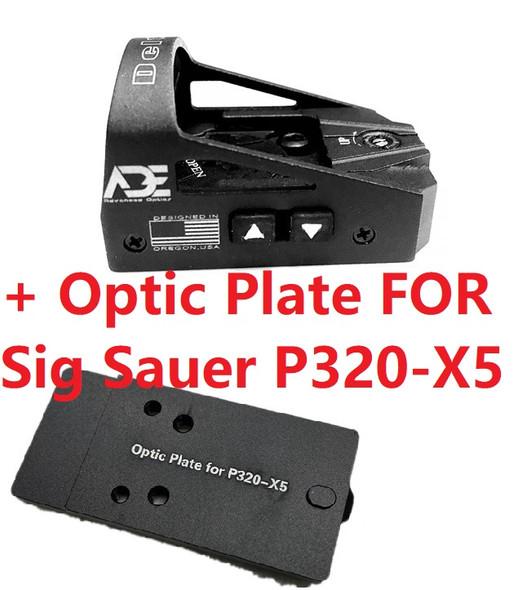 Ade Advanced Optics Delta RD3-012 Red Dot Reflex Sight + Optic Mounting Plate for Sig Sauer P320-X5 Pistol