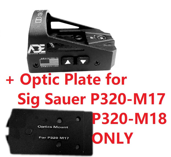 Ade Advanced Optics Delta RD3-012 Red Dot Reflex Sight + Optic Mounting Plate for Sig Sauer P320 M17, M18,  X5 Legion Pistol