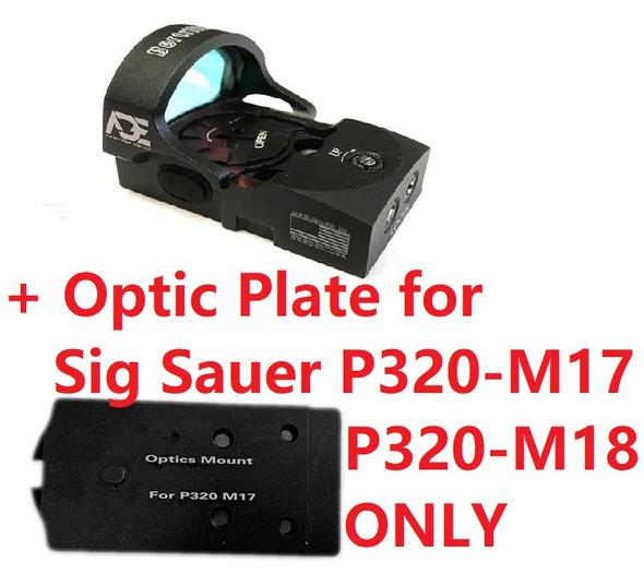 Ade Advanced Optics Bertrillium RD3-013 Red Dot Reflex Sight + Optic Mounting Plate for Sig Sauer P320 M17, M18, X5 Legion Pistol