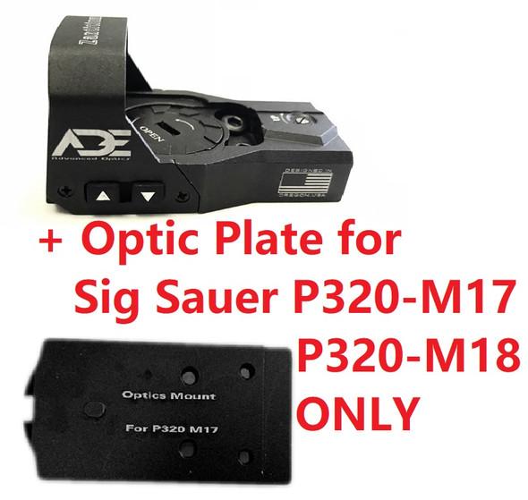 Ade Advanced Optics Zantitium RD3-015 Red Dot Reflex Sight + Optic Mounting Plate for Sig Sauer P320 M17, M18, X5-Legion Pistol