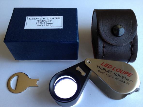 10x21mm UV/LED Triplet Illuminated Loupe/magnifier -Dual Light (white & UV)