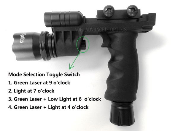 HG03 Rifle Vertical Foregrip Grip + 600 Lumen Flashlight and Green Laser Combo Sight