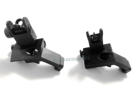 Front and Rear SET! Flip Up 45 Degree Offset Rapid Transition Backup Iron Sight ar15 airsoft