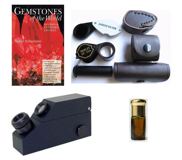 Dichroscope,Chelsea Filter,Jewelers Loupe,Gem Refractometer,RI Fluid,Book, 6 Kit