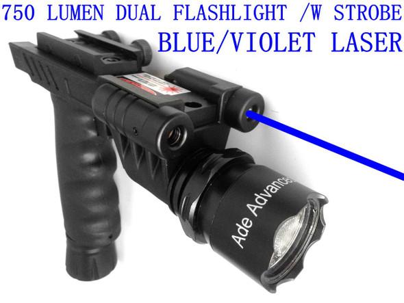 ADE HG23 BLUE LASER+700 Lumen STROBE Flashlight+Dim Light Combo Sight+Rifle Foregrip