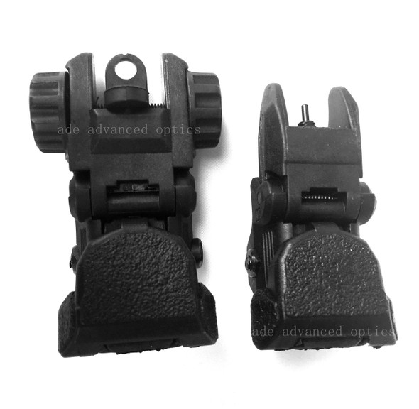 Polymer Tactical Automatic Button Quick Deploy Black Color Front & Rear Flip Push Backup BUIS Aiming Sights