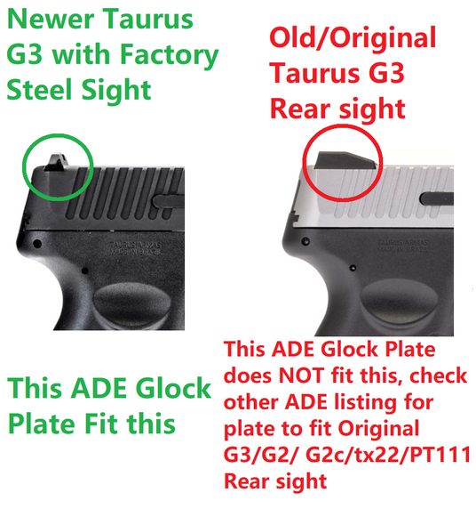 Red Dot Mounting plate fits Glock / Taurus GX4, G3C & G3 with factory steel sights Pistol Mount Plate for Vortex venom, burris fastfire, meopta, eotech mrds, docter, insight Red Dot Reflex Sight
