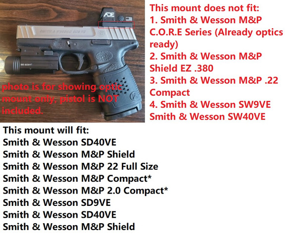 Smith Wesson SW MP Shield SD9 SD SD40 MP SD40VE Pistol Mounting Plate for Vortex venom, burris fastfire, meopta, eotech mrds, docter, insight Red Dot Reflex Sight