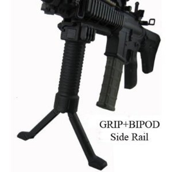 ForeGrip 3in1 Grip+Steel Inserted Leg Bipod+Side Picatinny Rail