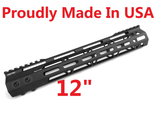 "MADE IN USA!- ADE PRO 12"" INCH MLOK RAIL SUPER SLIM HANDGUARD FREE FLOAT"