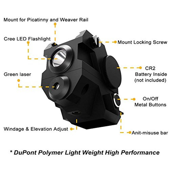 ADE ALCB Super Compact Green LASER+FLASHLIGHT sight Fits All sub-compact pistol Springfield,Smith Wesson SW MP, Ruger, Taurus,Glock,Bersa,Beretta,HK,Taurus,Walther,Springfield,Sig Sauer
