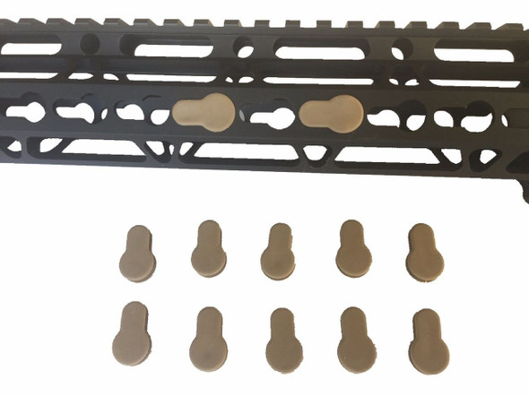 Pack 30! FDE Tan Rubber Insert Protector Plug for free float KeyMod Rail Covers