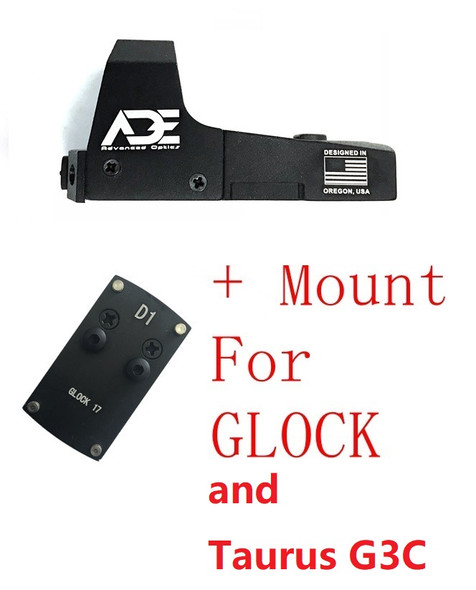 Ade RD3-006B GREEN Dot Reflex Sight  + Optic Mounting Plate for All GLOCK (Non-MOS) Standard models Canik TP9SF and Taurus GX4, G3C & G3 with factory steel sights pistol