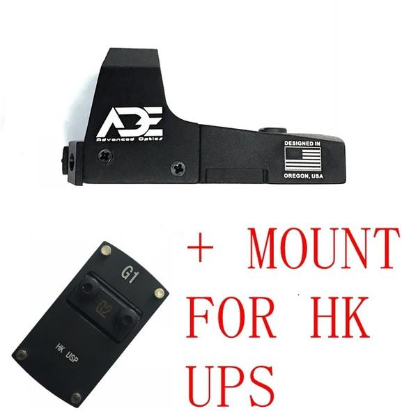 Ade Advanced Optics RD3-006B GREEN Dot Reflex Sight Pistol for for HK USP Tactical 9mm 45ACP 40 SW