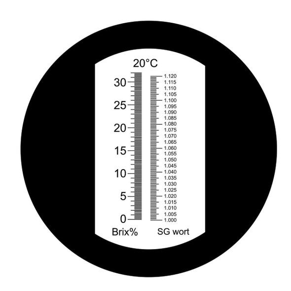 Ade Advanced Optics Abrewgo Automatic Temperature Compensation 0-32% Brix +1.000-1.120 Specific Gravity Dual Scale Refractometer