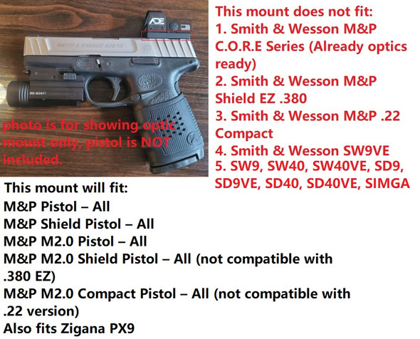 Ade RD3-012 Waterproof RED Dot Sight + Optic Mounting Plate for SW Smith Wesson MP/MP9/MP 2.0 Shield/Zigana PX9 Pistol + Standard Picatinny Mount