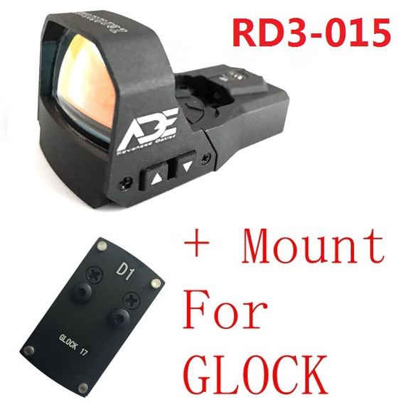 Ade RD3-015 Zantitium RED Dot Reflex Sight  + Optic Mounting Plate for All GLOCK (Non-MOS) Standard models Canik TP9SF and Taurus GX4, G3C & G3 with factory steel sights pistol