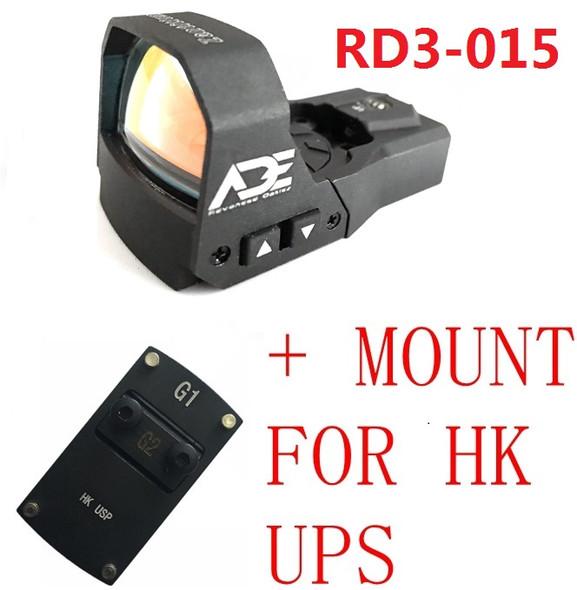 Ade Advanced Optics RD3-015 Waterproof RED Dot Reflex Sight Pistol for HK USP Tactical 9mm 45ACP 40 SW