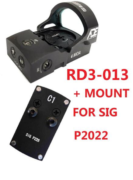 Ade RD3-013 Bertrillium RED Dot Waterproof Reflex Sight + Pistol Optic Mounting Plate for Sig-Sauer-P226, P228, P229, P2022 Pistol