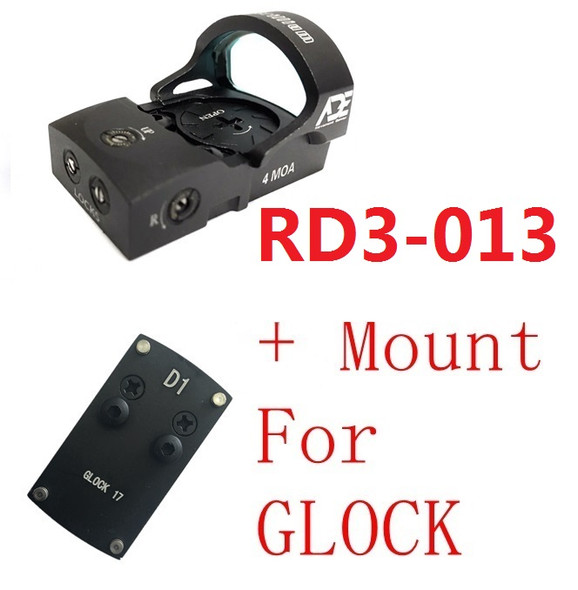 Ade RD3-013 Bertrillium RED Dot Reflex Sight + Optic Mounting Plate for All GLOCK (Non-MOS) Standard models Canik TP9SF and Taurus GX4, G3C & G3 with factory steel sights pistol