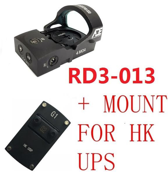 Ade Advanced Optics RD3-013 Waterproof RED Dot Reflex Sight Pistol for HK USP Tactical 9mm 45ACP 40 SW