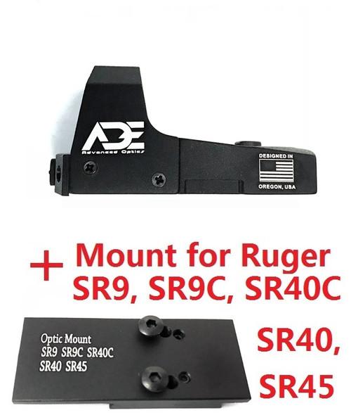 Ade Advanced Optics RD3-006B GREEN Dot Sight for RUGER SR9,SR9C,SR40C,SR40,SR45 pistols red
