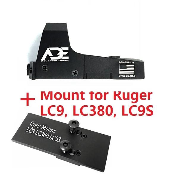 Ade Advanced Optics RD3-006B GREEN Dot Reflex Sight for RUGER LC9,LC380,LC9S pistols Handgun red
