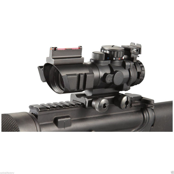 Ade 4x32 Tri Illuminated Prism Rifle Scope with Fiber Optic Sight & Accessory Rails