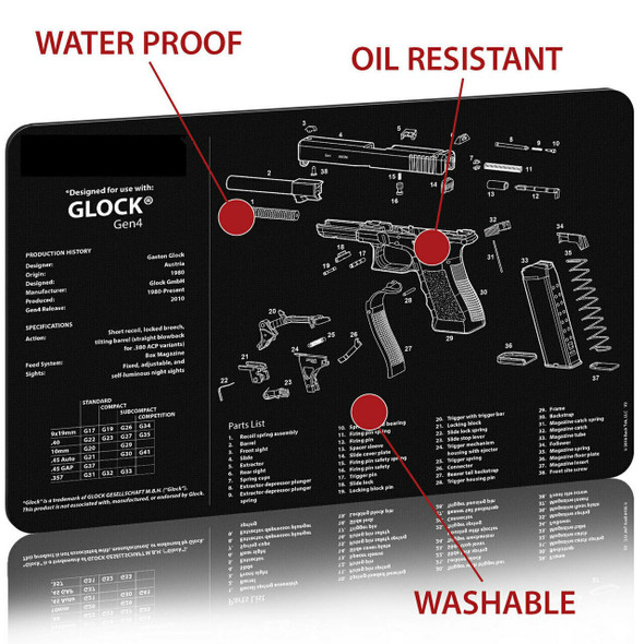 "GLOCK Handgun Gun Cleaning Mat 11""x17"" with Parts Schematic Mouse Pad"