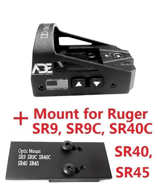 Ade Advanced Optics Delta RD3-012 Red Dot Reflex Sight + Optic Mounting Plate for SR9,SR9C,SR40C,SR40,SR45 Pistol + Picatinny Mounting Plate