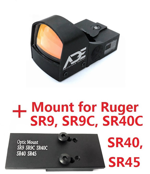 Ade Advanced Optics Compact RD3-009 Red Dot Reflex Sight + Optic Mounting Plate for SR9,SR9C,SR40C,SR40,SR45 Pistol + Picatinny Mounting Plate