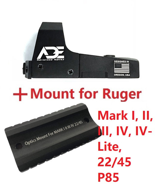RD3-006 GREEN Dot Sight + Optic Mounting plate/adapter for Ruger Mark 1,2,3,4, I,II,III,IV,IV-Lite,22/45 pistol