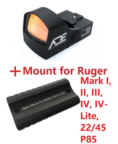 ADE RD3-009 Red Dot Sight + Optic Mounting plate/adapter for Ruger Mark 1,2,3,4, I,II,III,IV,IV-Lite,22/45 pistol