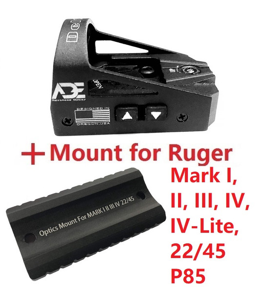 ADE RD3-012 Red Dot Reflex Sight + Optic Mounting plate/adapter for Ruger Mark 1,2,3,4, I,II,III,IV,IV-Lite,22/45 pistol