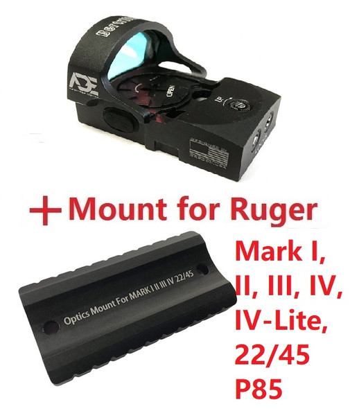 ADE RD3-013 Red Dot Sight + Optic Mounting plate/adapter for Ruger Mark 1,2,3,4, I,II,III,IV,IV-Lite,22/45 pistol