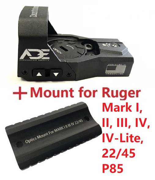 ADE RD3-015 Red Dot Reflex Sight + Optic Mounting plate/adapter for Ruger Mark 1,2,3,4, I,II,III,IV,IV-Lite,22/45 pistol