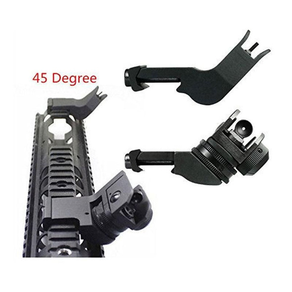 Polymer Front and Rear 45 Degree Offset Rapid Transition BUIS Backup Iron Sight Rifle