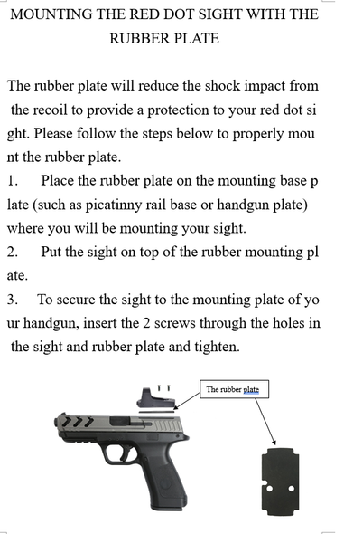 Anti Flicker/Sealing Plate/Rubber Shim For Vortex Venom/Razor/Viper,  Burris Fastfire,  ADE RD3-006, RD3-009, RD3-012, RD3-013, RD3-015, Meopta,  Eotech MRDS,  Docter, Insight,  Sightmark Minishot