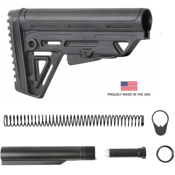 Made in USA TBA13 Alpha Tactical Mil Spec Rifle Butt Stock + Mil Spec Buffer tube set with Castle Nut, Spring, Buffer, Tube and End Plate