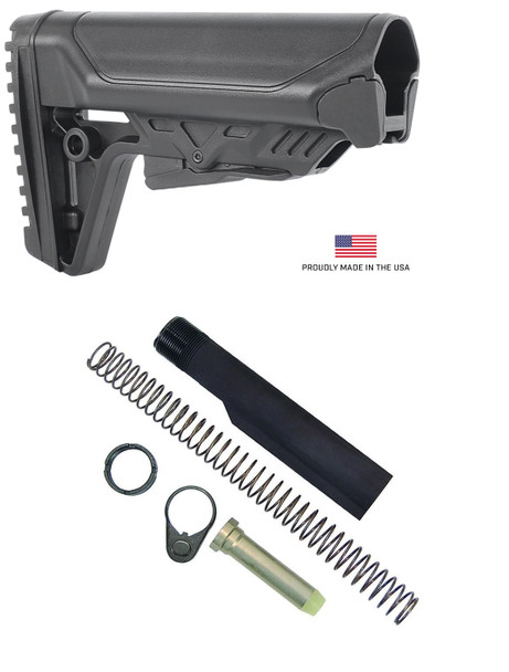 TBA14 Cobra MK2 Sopmod Style Mil- Spec Rifle Stock Butstock for AR15 + Mil Spec Buffer tube set with Castle Nut, Spring, Buffer, Tube and End Plate