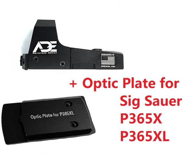 Ade Advanced Optics RD3-006 Green Dot Sight + Optic Mounting Plate for Sig Sauer P365XL/P365X Handgun