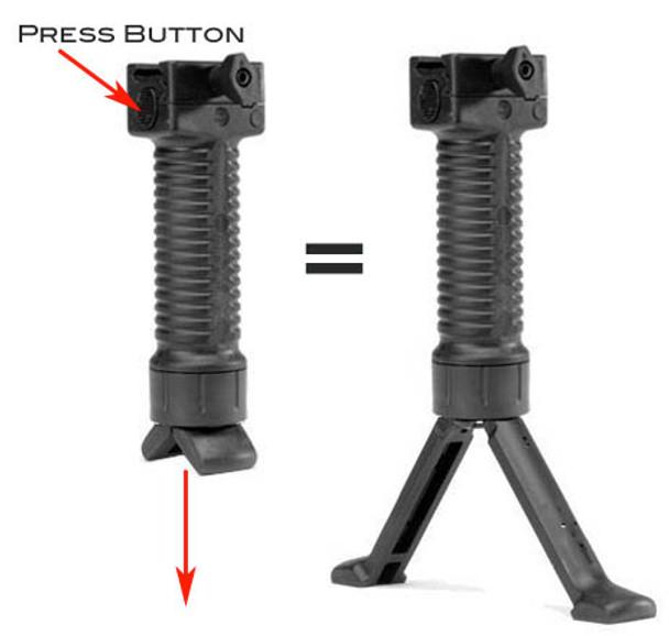 Military Tactical RIS Fore Grip w/ Bipod Pod Picattinny Weaver Rail Foregrip